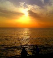 Gün Batımında Balıkçılar